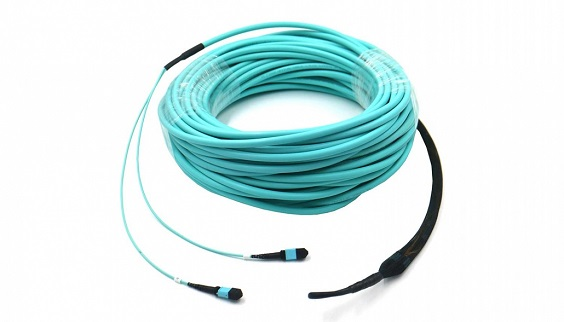 MPO OM3 12/24 Core Fiber Optical Patch Cord with pulling eye